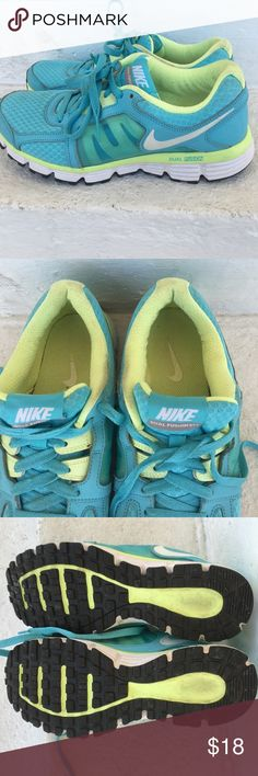 Nike Dual Fusion ST2 Sneakers Very cute & comfy Nike sneakers! Bright light blue with lime green... Shows some wear but overall in good condition Nike Shoes Sneakers
