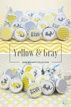 Yellow and Gray Elephants are on the way! Cute stickers are designed to fit perfectly on Hershey Kisses to create baby shower favor, envelope seals for invitations and thank you notes, or decorations.