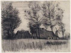 Vincent van Gogh, Landscape with Cottages and a Mill, 1885 on ArtStack #vincent-van-gogh #art