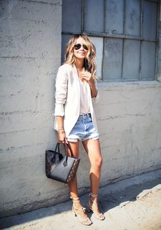 CLUB MONACO scarletta blazer SINCERELY JULES spade v-neck tee LEVI'S vintage denim shorts GIANVITO ROSSI sandals Louis Vuitton bag