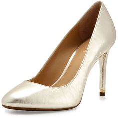 MICHAEL Michael Kors Ashby Leather Almond-Toe Pump ($115) ❤ liked on Polyvore featuring shoes, pumps, pale gold, leather slip-on shoes, golden shoes, metallic shoes, golden pumps and leather pumps