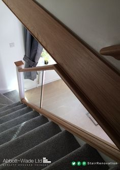 Oak rails with white newel posts and inline glass balustrade with a luxuriously soft carpet. Basement Staircase, New Staircase, Modern Staircase, Staircase Design, Bespoke Staircases, Glass Balustrade, Newel Posts, Carpet Stairs, Under Stairs