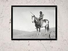 Chouette de la médecine, amérindien sur poney, année 1910.Native art mural américain imprimer, Home Decor, cheval d