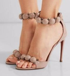 81.70$  Buy here - Real Picture Fashion New Arrival High Thin Heels White Brown Leather Elegant Women Shoes Button Summer Back Zipper Sandals  #buyonline