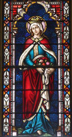 Elizabeth of Hungary Stained Glass Church, Stained Glass Art, Stained Glass Windows, Catholic Art, Catholic Saints, Saint Elizabeth Of Hungary, Jesus Faith, Church Windows, Old Churches