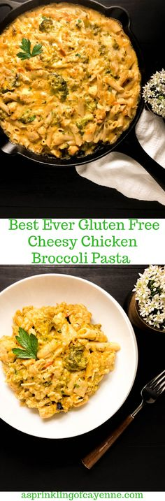 Kid-perfect and all-family-friendly this Best Ever Gluten Free Cheesy Chicken Broccoli Pasta hits all the right comfort food spots. Entree Recipes, Pasta Recipes, Chicken Recipes, Skillet Recipes, Chicken Broccoli Pasta, Cheesy Chicken, Gluten Free Pasta, Gluten Free Chicken, Best Gluten Free Recipes
