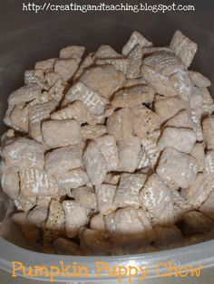 Pumpkin puppy chow:  melt one bag of pumpkin Hershey's kisses in a double broiler, pour into zip lock bag with rice chex cereal and powered sugar then shake away.