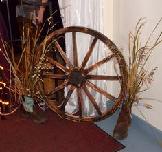 One of my old boot and one of my husbands on each side of the door and were a hit in our rustic elegant wedding. Wagon Wheels, Old Boots, October Wedding, Wedding Centerpieces, Elegant Wedding, Rustic, Country Primitive, Retro