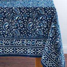 Amazon.com: Indigo Hand-Blocked Tablecloth: Home & Kitchen