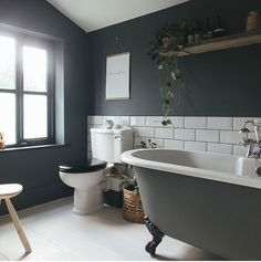 Blue Grey Bathroom Ideas Awesome 40 Fabulous Grey and Blue Bathroom Design Ideas Decoomo Small Bathroom With Tub, Cosy Bathroom, Dark Gray Bathroom, Dark Bathrooms, Bathroom Lighting, Bathroom Ideas, Ensuite Bathrooms, Downstairs Bathroom, Bathroom Faucets