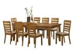 Baxton Studio Taylor 7-Piece Wood Modern Dining Set, Brown by Baxton Studio. $1027.00. Contemporary dining set 1 table, 6 chairs. Solid wood and MDF construction. CAFR foam seat cushions with brown and cream woven fabric. Walnut effect veneer finish. Table features removable leaf. Serving meals has never been so stylish. This elegant, contemporary dining furniture set is made of MDF with solid wood veneer in a walnut effect stain. Included with your purchase are six modern d...