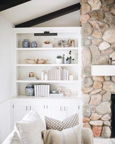 living room with shelving