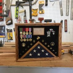 Military Uniform Shadow box FREE SHIPPING lower 48 states   Etsy Fabric Display, Wood Display, Display Case, Military Retirement Parties, Military Shadow Box, Military Careers, American Flag Wood, Wood Stain Colors, Solid Oak