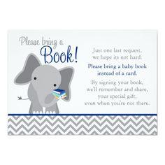 Cute Elephant Chevron Navy Blue Baby Shower Book Card