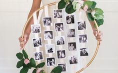 Create a floral photo hoop for your wedding.