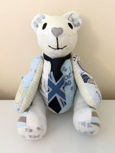 A gorgeous memory bear made from a little boys cherished first clothing. I resized the tie to fit the Ted! www.treasured-teds.co.uk