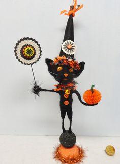 Halloween Black Kitten needle felted by SwanQuarterHouse. Timmy B.