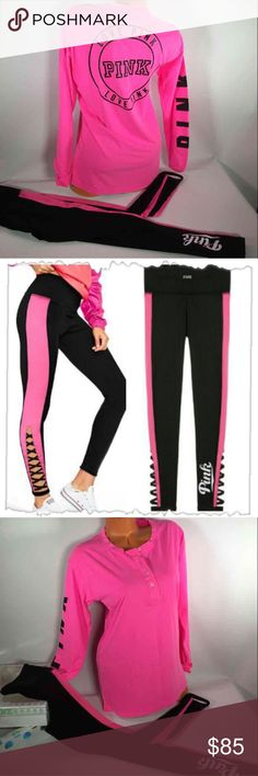 4b7a255dbe4d12 NWT Victoria's Secret Pink Strappy leggings set AVAILABLE in XS and Small  sizes Brand new with