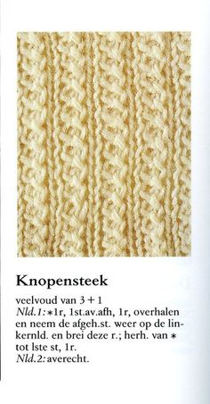 Knopensteek 001 - Breisteken Knitting Stiches, Knitting Books, Knitting Videos, Knitting Patterns Free, Knit Patterns, Stitch Patterns, Cross Stitching, Knitted Shawls