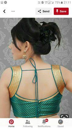 Green blouse with gold lace. Kerala Saree Blouse Designs, Saree Blouse Neck Designs, Fancy Blouse Designs, Blouse Patterns, Choli Designs, Princess Cut Blouse Design, Stylish Blouse Design, Sleeveless Blouse, Sexy Blouse