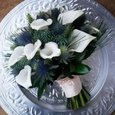 Image result for lily and thistle bouquet