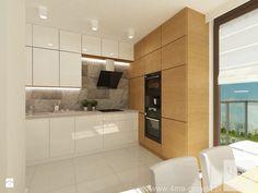 Projekt mieszkania 98 m2 w Wilanowie. - Mała otwarta kuchnia w kształcie litery l w aneksie, styl nowoczesny - zdjęcie od 4ma projekt