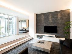 ダウンリビング - Google 検索 Japanese Home Design, Japanese House, Interior Walls, Interior Design, Sunken Living Room, Tv Unit Design, Studio Apartment, Home And Living, Room Inspiration