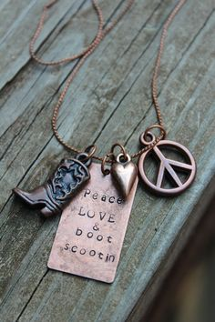 Peace Love and Boot Scootin Necklace with by CreationsbyKelseyy, $18.00