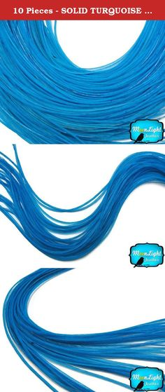 10 Pieces - SOLID TURQUOISE BLUE Thin Long Rooster Hair Extension Feather. This listing is for 10 individual premium quality genetic rooster hair extension feathers. Each feathers range from 7-11 inches. Sometimes longer. They can be as fine as 1mm - 2mm. These are long narrow feathers that are soft and flexible. That is the reason why people use them on their hair.Dyed solid blue is the most sought after color in the market. This blue is dyed over natural real rooster feathers showing...