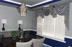 valance for the dining room,contemporary style : Moreland valance with a swag and jabots with medallions
