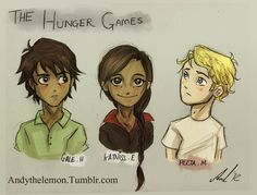 THG: Katniss, Gale + Peeta by =AndytheLemon on deviantART #HungerGames