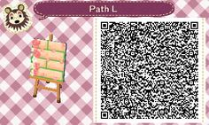 Animal Crossing QR Codes ❤ Manila brick path w/ pink rose border and petals:) TILE#8<-- Left Side Straight