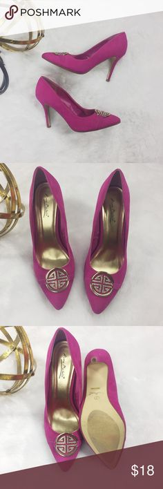 """Anne Michelle Pink Heels Anne Michelle Pink Heels. All man-made material.  Heel height: 4"""". There are light signs of wear. Please refer to the pictures. Good used condition. Anne Michelle Shoes Heels"""