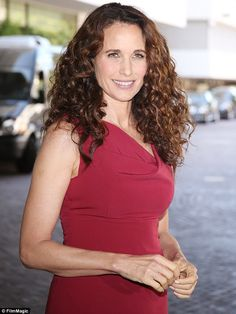 Glowing: Andie MacDowell arrives at the Beverly Hilton Hotel in Beverly Hills on Wednesday to promote her new show Cedar Cove on behalf of the Hallmark Channel