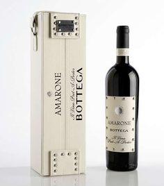 Limited Edition Amarone Bottega luxury wine in leather case