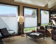 A dream home office with the energy efficient style of top/down bottom/up Duette® Architella® honeycomb shades. ♦ Hunter Douglas window treatments www.normandeauwc.com