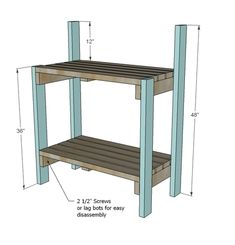 Ana White Build a Simple Potting Bench Free and Easy DIY Project and Furniture Plans # Pallet Patio Furniture, Outdoor Furniture Plans, Diy Garden Furniture, Furniture Making, Furniture Ideas, Wooden Furniture, Concrete Furniture, Repurposed Furniture, Ana White