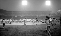 Disco Demolition Night was an ill-fated baseball promotion that took place on July 12, 1979, at Comiskey Park in Chicago, Illinois. At the climax of the event, a crate filled with disco records was blown up on the field between games of the twi-night doubleheader between the Chicago White Sox and the Detroit Tigers. Many of those in attendance had come to see the explosion rather than the games and rushed onto the field after the detonation.