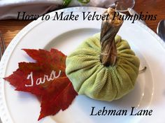 How cute is that little pumpkin!!! After seeing lots of velvet pumpkins everywhere on Pinterest and at www.theinspiredroom.net (great decorating blog) I decided I need to have some for my…