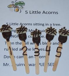 5 Little Acorns Stick Puppet Chant – Free Printable for # Preschool & … - Crafts for Kids Fall Preschool Activities, Circle Time Activities, Preschool Songs, Preschool Crafts, Preschool Kindergarten, Preschool Fall Theme, November Preschool Themes, Harvest Activities, Daycare Crafts