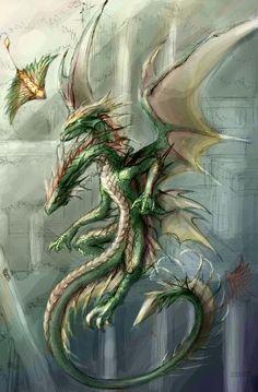 Ilustraciones de dragones.