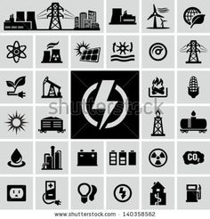 ENERGY   Energy, electricity, power icons by VoodooDot, via Shutterstock