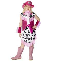 Cowgirl kostuum voor meiden. Roze cowgirl kostuum bestaande uit het jasje, de rok, de hoed, holster, de zakdoek en de armbandjes. Carnavalskleding 2015 #carnaval