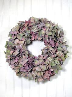 Hydrangea Wreath $48.00 Dried Floral, Wreaths, Dried Flowers #dried_flowers #wreaths #dried_wreaths