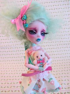 Melody Mint and Her Sweet Pink Teddy BearMH by JBWickedPaperDolls, $185.00