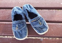 US Women: Size 9.5. Handmade Recycled Denim slip-on by ModernFox