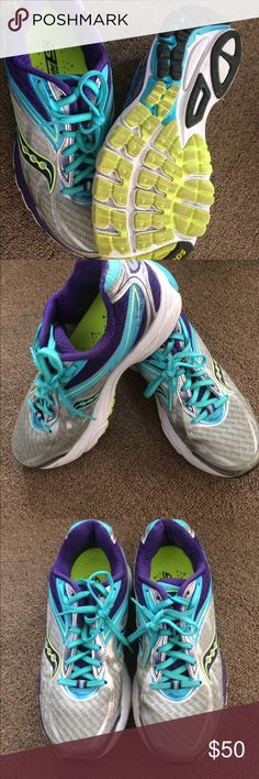 Saucily running shoes in almost new condition! Great running shoes in great condition. Barely used only about 30% .These shoes were purchased at feet fleet store for $130. Saucony Shoes Athletic Shoes
