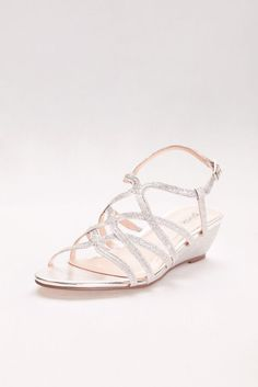 73688c7538ee Opulent Crisscross Strappy Low Wedge Sandals - Silver