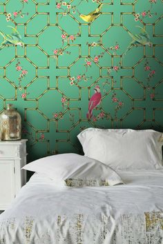 Kelsey Proud Birds Wallpaper in green and pink and gold. For more like this, click the picture or see http://www.redonline.co.uk