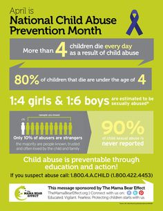 April Is National Child Abuse Prevention Month. The Mama Bear Affect has great resources on their website. You can purchase flyers, door hangers, etc. just for the price of shipping! Help protect our children!